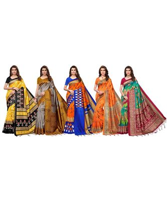 Combo Of 5 Poly Silk Multicolor Printed Women's Saree