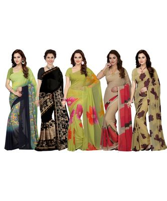 Women's Faux Georgette Printed Mutlicolor Saree/Sari (Combo of 5_ Free Size)