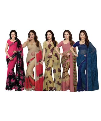 Faux Georgette Multicolor Printed Women's Saree - Combo of 5