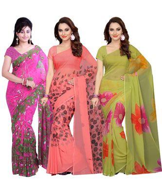 Combo of 3 Multicolor Poly Georgette Printed Women's Saree/Sari