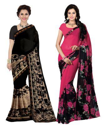 Combo of 2 Black & Pink Poly Georgette Printed Women's Saree/Sari