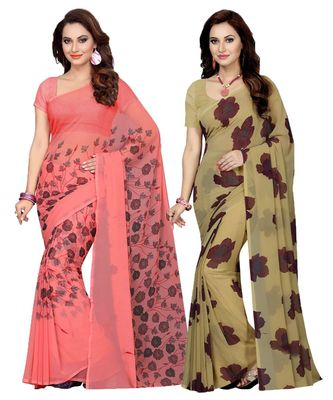Georgette with Blouse Piece Saree (Pack of 2) (Combosr-11065_Multicolor_Free)