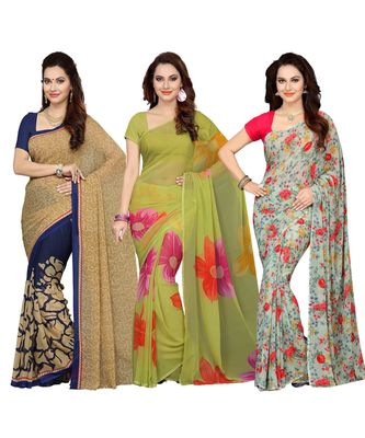 Women's Faux Georgette Printed Mutlicolor Saree/Sari (Combo of 3_ Free Size)