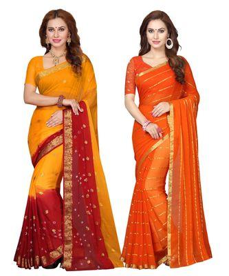 Women's chiffon Saree With Blouse Piece (Combosr-2151_Multi-Coloured)
