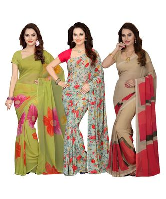 Women's Combo Of 3 Faux Georgette Saree With Blouse Piece (Multicolor_Free Size)