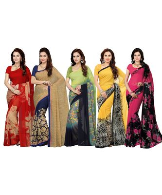 Combo of 5 Poly Georgette Multicolor Printed Women Saree