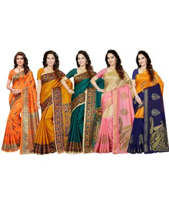 Combo of 5 Poly Silk Multicolor Printed Women's Saree.