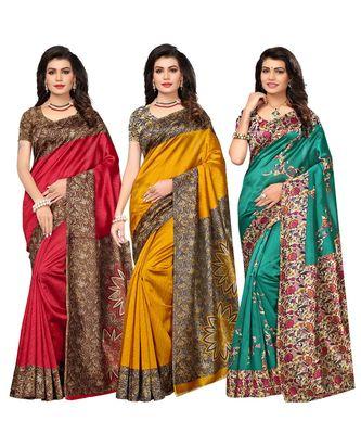 Combo of 3 Poly Silk Multicolor Printed Women's Saree / Sari With Blouse Piece
