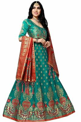 Dark-green printed silk unstitched lehenga