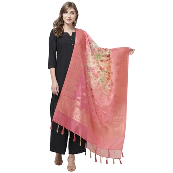 Pink Color Cotton silk Jaquard Dupatta
