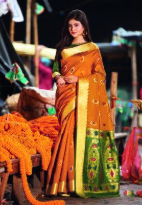 Orange hand woven bengal handloom saree with blouse