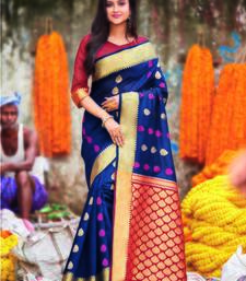 Navy blue hand woven bengal handloom saree with blouse