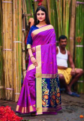 Magenta hand woven bengal handloom saree with blouse
