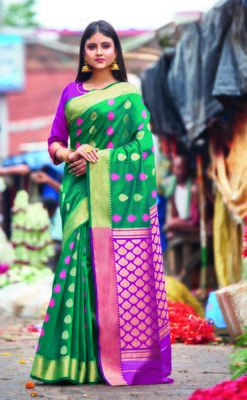 Turquoise hand woven bengal handloom saree with blouse