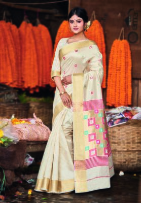 Cream hand woven bengal handloom saree with blouse
