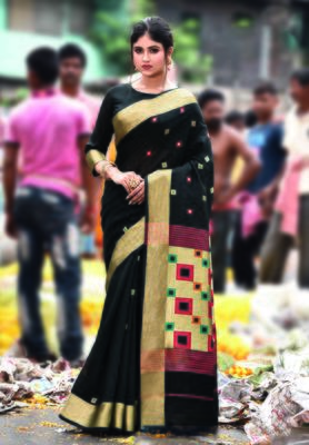 Black hand woven bengal handloom saree with blouse