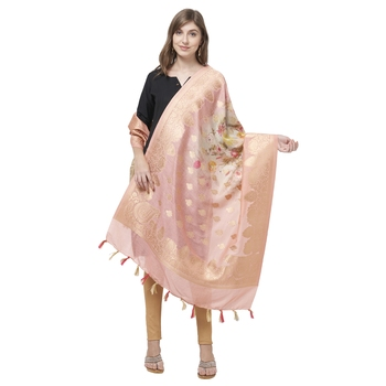 All Occasion Gold Color Floral Print Dupatta