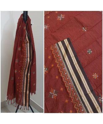 Brown kota cotton dupatta with kasuti embroidery