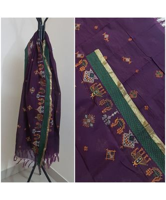 Purple kota cotton dupatta with kasuti embroidery