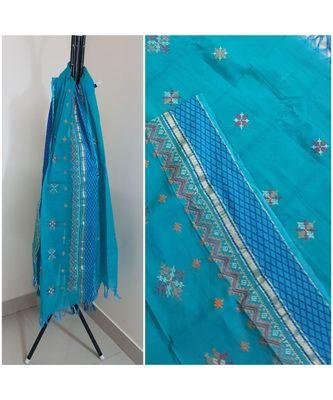 Blue kota cotton dupatta with kasuti embroidery