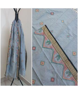 Grey kota cotton dupatta with kasuti embroidery