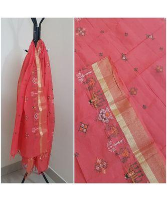 Peach kota cotton dupatta with kasuti embroidery