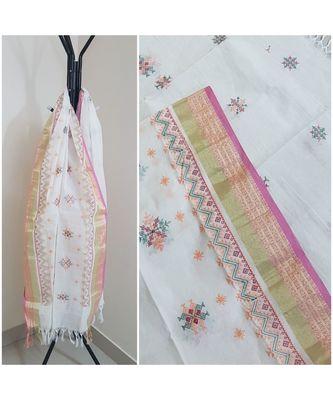 White kota cotton dupatta with kasuti embroidery