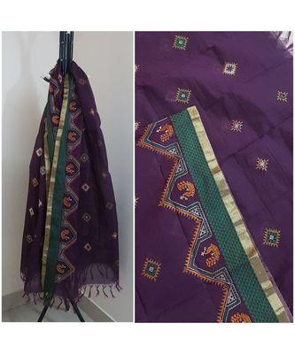 Purple kota cotton dupatta with kasuti embroidery