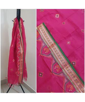 Pink kota cotton dupatta with kasuti embroidery