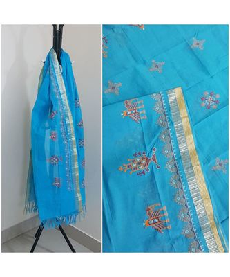 Blue kota cotton dupatta with kasuti embroidery