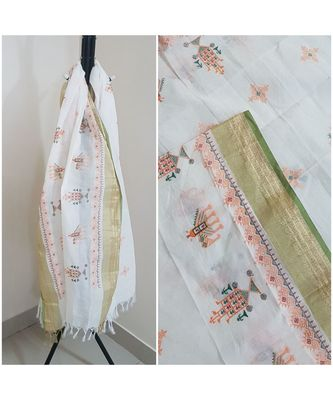 White kota cotton dupatta with kasuti embroidery