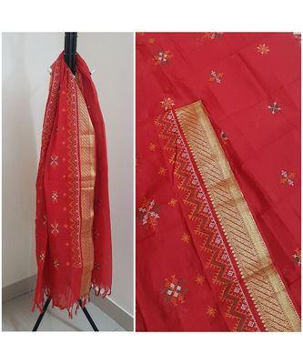 Red kota cotton dupatta with kasuti embroidery