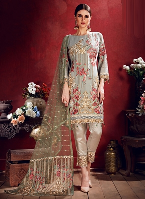 Grey Georgette Embroidered Unstitched Salwar Kameez With Dupatta