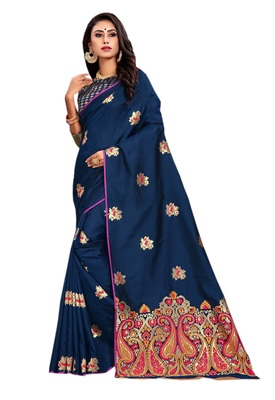 Blue embroidered silk saree with blouse