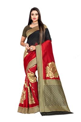 Red plain banarasi saree with blouse