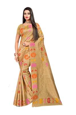 Beige plain banarasi saree with blouse