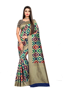 Multicolor plain banarasi saree with blouse