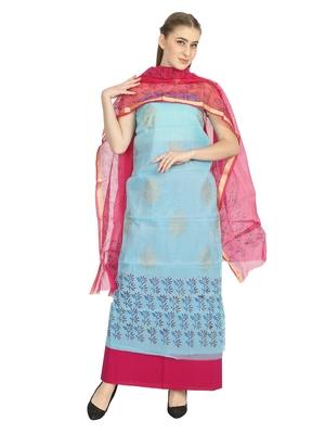 blue printed kota doria unstitched salwar with dupatta