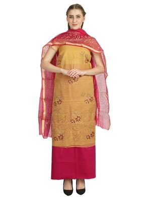 brown printed kota doria unstitched salwar with dupatta