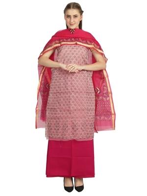 red printed kota doria unstitched salwar with dupatta