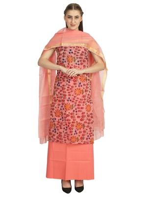 beige printed kota doria unstitched salwar with dupatta