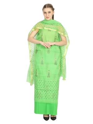 green printed kota doria unstitched salwar with dupatta