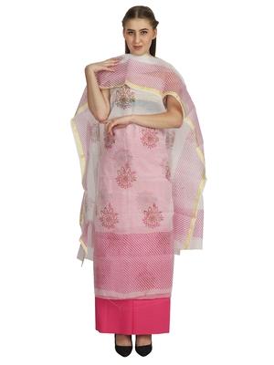 white printed kota doria unstitched salwar with dupatta