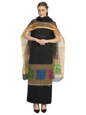 black printed kota doria unstitched salwar with dupatta
