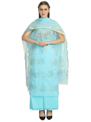 blue kota doria kota doria unstitched salwar with dupatta