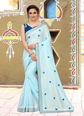 Sky blue plain silk saree with blouse
