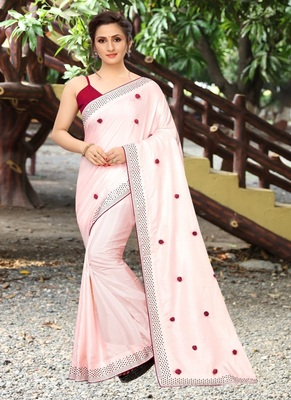 Light pink plain silk saree with blouse