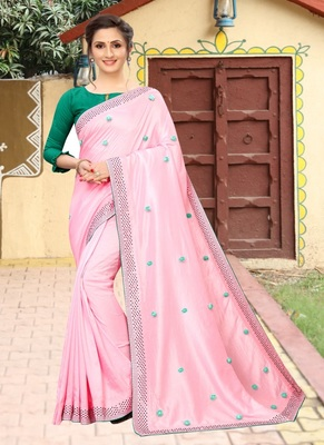 Pink plain silk saree with blouse