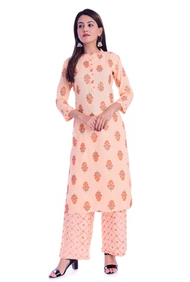 Orange printed Rayon kurta-sets
