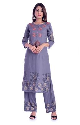 grey printed Rayon kurta-sets